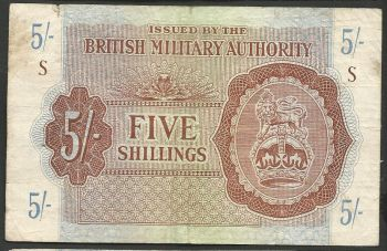 Greece: British Military Authority 5 shillings  Super Offer!