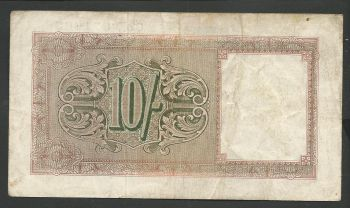 Greece: British Military Authority 10 Shillings (Circulated in Greece).VF+
