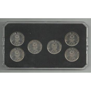 Grrece 6 x 500 drachmas commemorative coins 2000 in plastic case