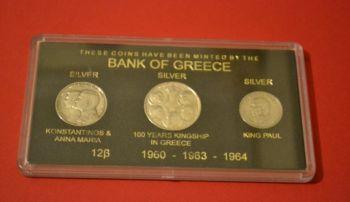 1960-63-64 GREECE SILVER 20 & 2 X 30 DRACHMA COIN SET