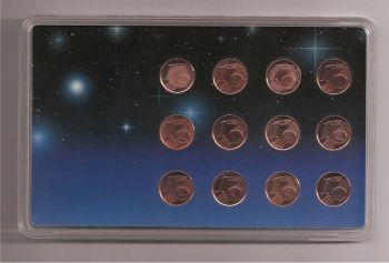 Collectible case with 12 coins of one cent- BU !