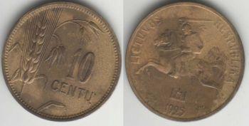 Lithuania 10 centu 1925  km#73