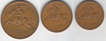 Lithuania 3 coins set: 10, 20, 50 centu 1991