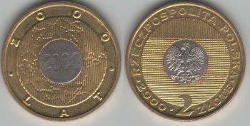Poland 2 zlote 2000 Millennium y#374