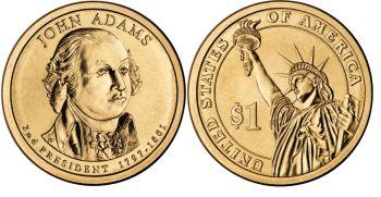 USA 1 dollar 2007 J.Adams km#402 UNC