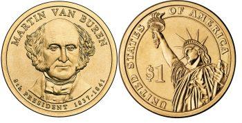USA 1 dollar 2008 M.Van Buren km#429 UNC