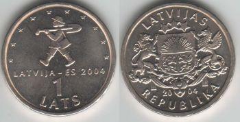 Latvia 1 lats 2004 Child with shovel km#61 UNC