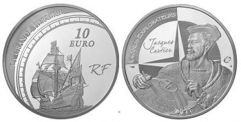 FRANCE. 10 Euro Silver Proof 2011 - Jacques Cartier   -   Free shipping