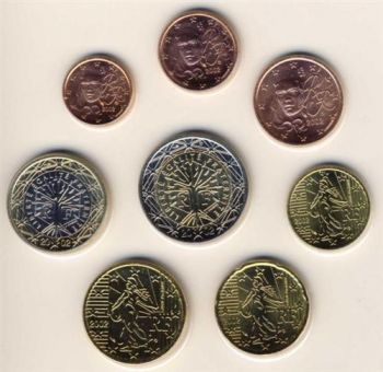 FRANCE. Euro set 1 Cent - 2 Euro 2002 w/ capsules  -  Free shipping