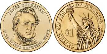 USA 1 dollar 2010 J.Buchanan UNC