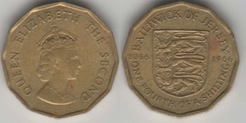Jersey 1/4 shilling 1966 km#27 Norman Conquest