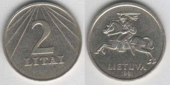 Lithuania 2 litai 1991 km#92