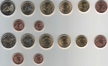 Estonia 8 coins set (1 euro cent - 2 euro) 2011 UNC