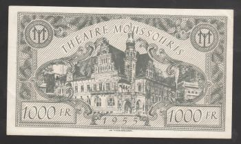 Greece ticket Theatre Moussouris 1955 - 1000 FR.