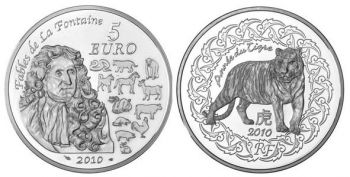 FRANCE. 5 Euro Silver BU 2010 - Année du Tigre / Year of the Tiger