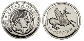 ESPAÑA / SPAIN.  10 Euro AG PROOF Dracma 2008 - Una Joya !!!