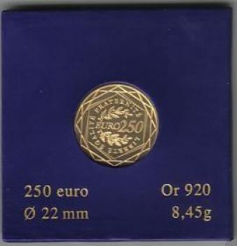 FRANCE. 250 Euro Gold La Semeuse 2010 (Free of VAT)