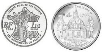 2006. France 1½ Euro PROOF Dôme des Invalides