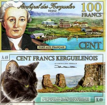 KERGUELEN FRANCE 100 FRANCS NEW 2010 CAT ROCK UNC POLYMER