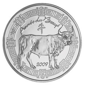 FRANCE. 5 Euro Silver BU 2009 - Année du Boeuf / Year of the Ox