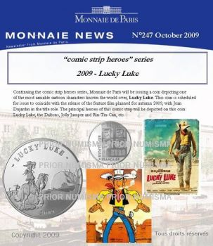 FRANCE. 10 Euro Silver PROOF Lucky Luke 2009