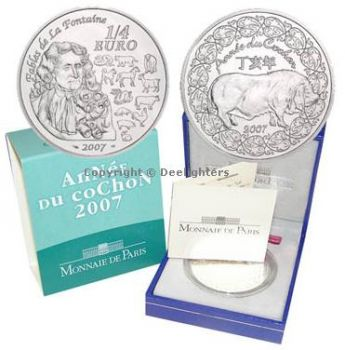 FRANCE. 1/4 Euro Silver BU 2007 Année du Cochon / Year of the Pig