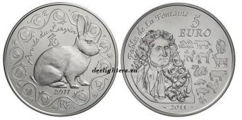 FRANCE. 5 Euro Silver BU 2011 - Année du Lapin / Year of the Rabbit