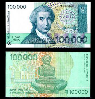 CROATIA 100000 DINARS 1993 P 27 UNC