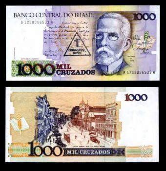 BRAZIL 1CRUZ NOVO ON 1000 CRUZADOS 1989 P 216 UNC