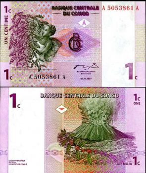 CONGO 1 CENTITIME 1997 P 80 UNC