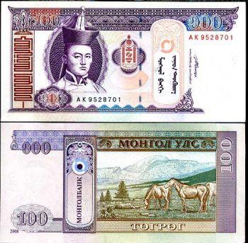 MONGOLIA 100 TUGRIK 2008 P NEW UNC