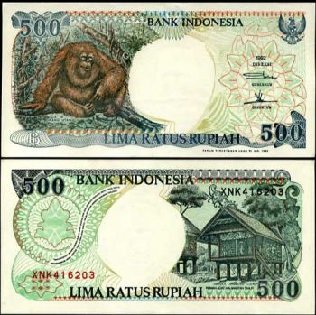 INDONESIA 500 RUPEES ND MONKEY UNC