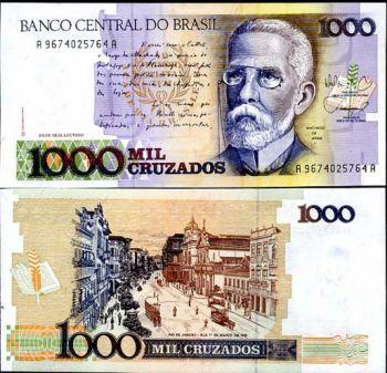 BRAZIL 1000 CRUZADOS 1988 P 213 UNC