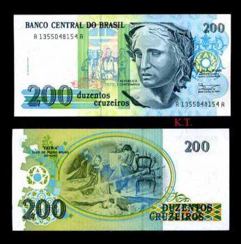 BRAZIL 200 CRUZEIROS ND 1990 P-229 UNC