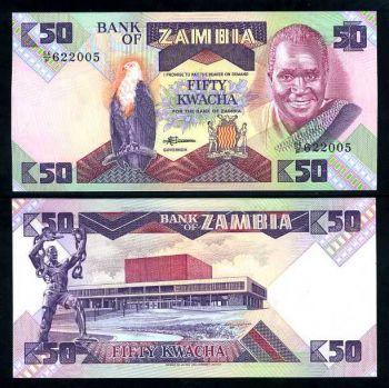 ZAMBIA 50 KWACHA 1986 - 1988 P 28 UNC
