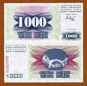 BOSNIA & HERZEGOVINA 1000 Dinars 1992 UNC