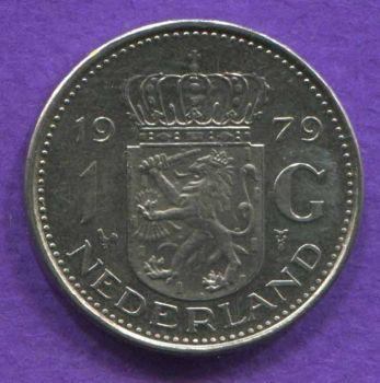 NETHERLANDS 1 GULDEN 1979 AUNC
