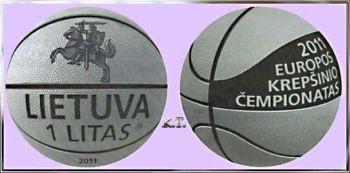 Lithuania 1 Litas 2011 UNC  (Basketball)