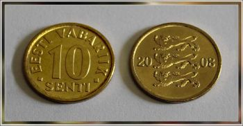 Lithuania 10 Centu 2008 NEW UNC