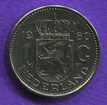 NETHERLANDS 1 GULDEN 1980 AU-UNC