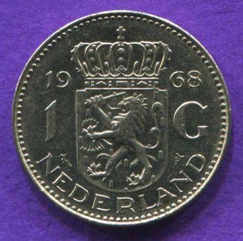 NETHERLANDS 1 GULDEN 1968 AUNC