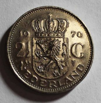NETHERLANDS 2.50 GULDEN 1970