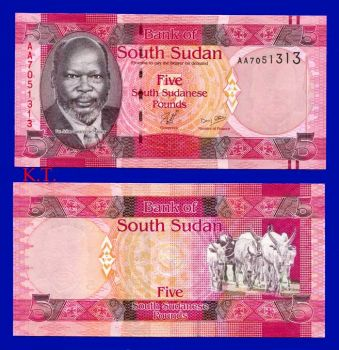 SOUTH SUDAN 5 POUNDS 2011 UNC