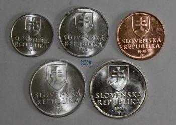 SLOVAKIA SET 5 COINS 10 Haler - 2Krones UNC