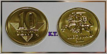 LITHUANIA 10 Centu (cent) 2010 NEW UNC