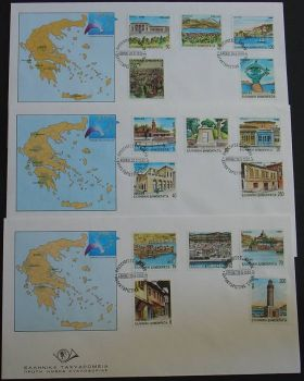 GREECE 1990 CAPITALS OF PREFECTURES PART 2 SET OF 3 FDC