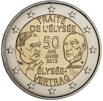 France 2 Euro commemorative coin 2013 Elysee-Treaty