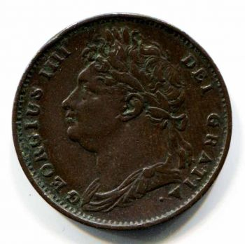 1821 GREAT BRITAIN -Type 1- GEORGE IV Farthing, by PISTRUCCI Britannia with LION