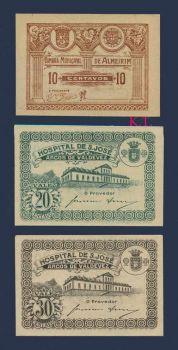 PORTUGAL SET 1930's  10-20-30 CENTAVOS UNC