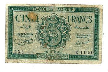 ALGERIA 5 FRANCS 11-8-1941